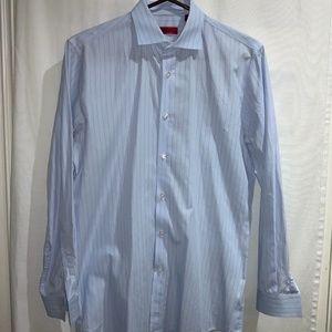 HUGO Button up dress shirt blue w red pinstripe